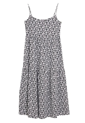 MARKS & SPENCER blue M&S Linen Floral Sleeveless Midi Tiered Dress 3033FAAB036F21GS_1