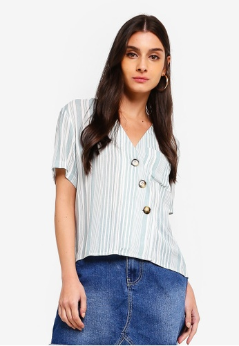 ZALORA green and multi Slanted Button Down Top F3BBCAAA6786FDGS_1