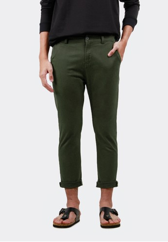 HUBBU green Celana Chino Ankle Pants Panjang A07008H Hijau Army 9665BAA80C0B21GS_1