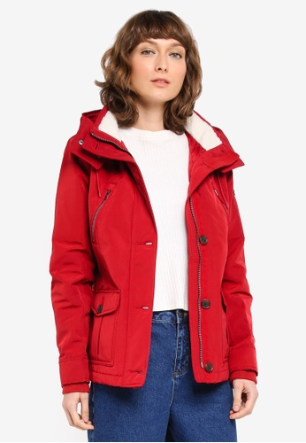 Abercrombie & Fitch red Nylon Hardshell Jacket AB423AA0T10WMY_1