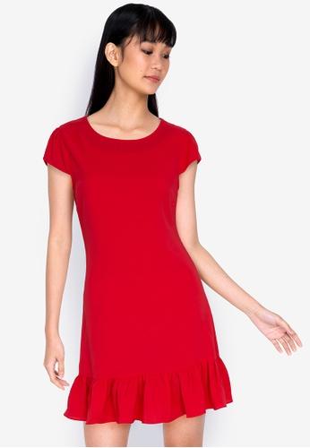 ZALORA BASICS orange Cap Sleeve Flutter Hem Dress FDAD3AAA1D8576GS_1