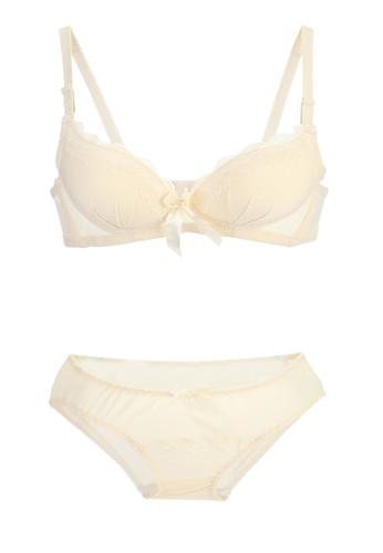 La Dee beige Victorian Bra Set 05B22US956B708GS_1