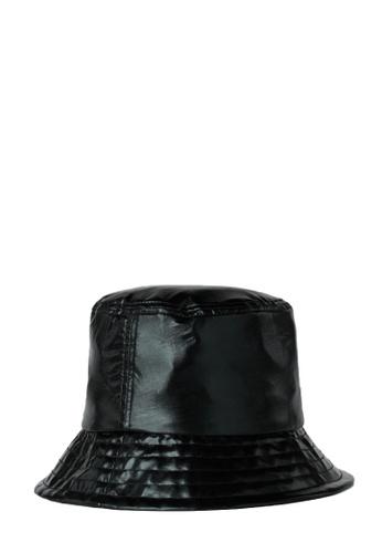 KARL LAGERFELD black K/Ikonik Metallic Bucket Hat 93D4BAC5D0E921GS_1