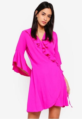 Liquorish 粉紅色 褶飾綁帶洋裝 B8311AA1396DA9GS_1