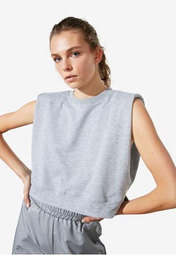Trendyol grey Boxy Sleeveless Sports T-Shirt CA220AA94E7A23GS_1