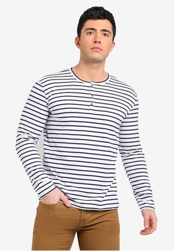 3881da2102847 Buy Fidelio Henley Stripes Long Sleeves Tee Online on ZALORA Singapore