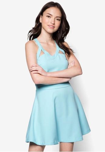 zalora 台灣Love 交叉肩帶連身裙, 服飾, 洋裝