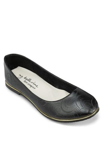 Mesprit專櫃iranda 雕花金邊平底鞋, 女鞋, 芭蕾平底鞋