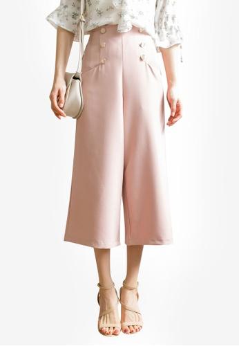 Tokichoi pink Button Detail Culottes 14EDFAA5E1D51FGS_1