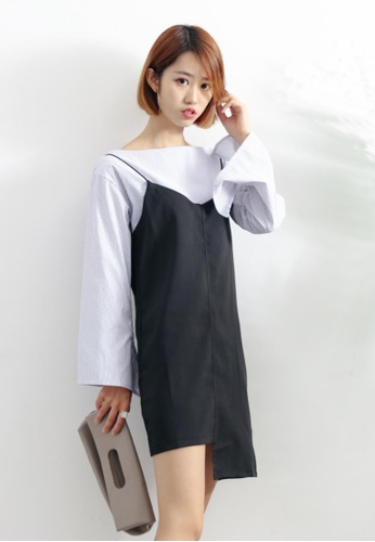 Shopsfashion black and white Blouse and Slip Dress Set SH656AA05XHISG_1