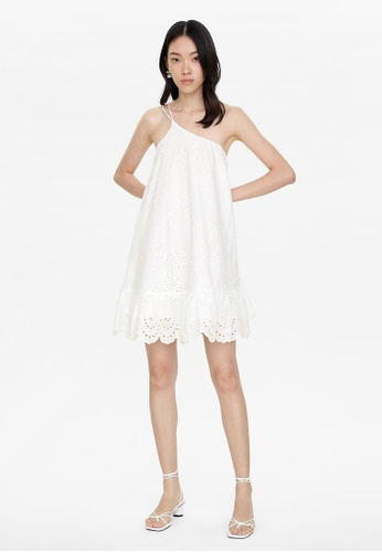 Pomelo white Eyelet One Shoulder Dress - White D0B89AA1C5CF81GS_1