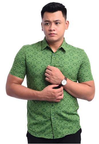 UA BOUTIQUE green Shirt Batik RBS10-071 (Green) D0138AA8B38D57GS_1