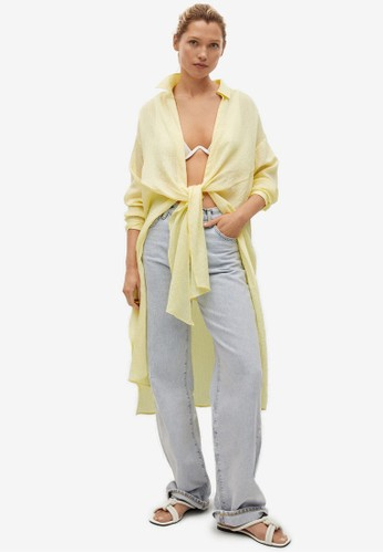 Mango yellow Lyocell Knot Shirt B9944AAB616DD9GS_1