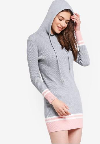 Something Borrowed grey Hooded Rib Mini Dress 6B044AA83FBF33GS_1