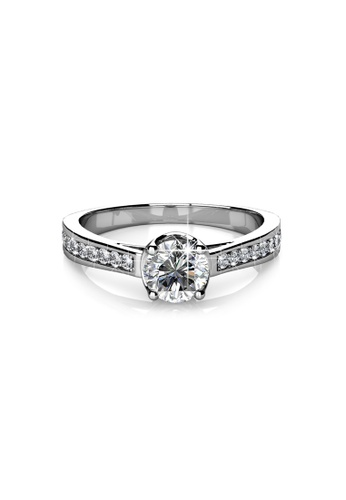 Her Jewellery silver Swarovski® Crystals - Charm Ring - (18K White Gold Plated) Her Jewellery HE581AC0RC1CMY_1