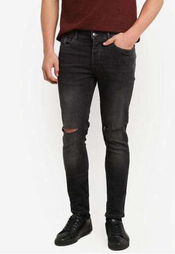 Burton Menswear London black Black Wash Clean Rip Ethan Super Skinny Fit Jeans BU964AA0S5MGMY_1
