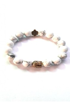 Feng Shui Howlite Gold Plated Medicine Buddha with Mystic Knot Bracelet