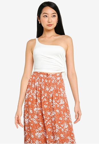 ZALORA BASICS white One Shoulder Top With Side Ruching 7C6E2AAA93CF02GS_1