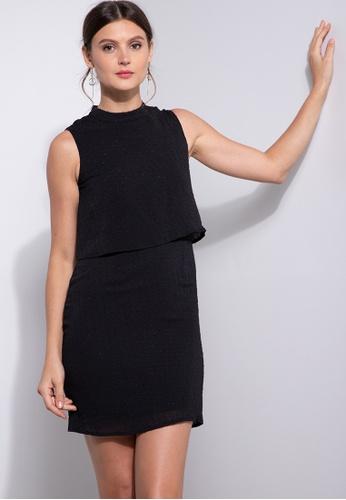 ZALORA OCCASION black Mock Neck Layered Dress EA2DCAACA54625GS_1