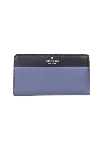 Kate Spade blue and multi Kate Spade Schuyler Large Slim Bifold Wallet wlr00443 Blueberry Cobbler Multi 9E11AAC879610FGS_1
