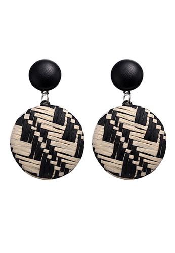 Glamorbit black and white Monochrome Rattan Dangling Statement Earrings EC787AC593C76AGS_1