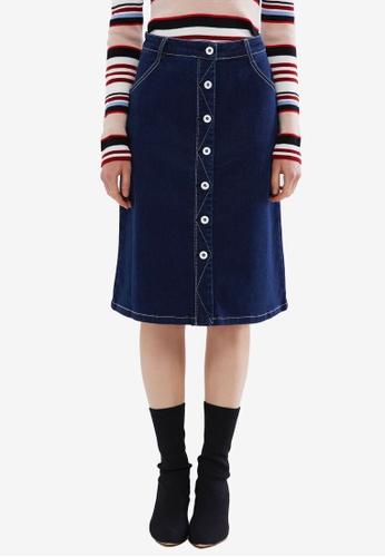 Hopeshow blue Button Down Denim Midi Skirt 07AFCAA102078AGS_1