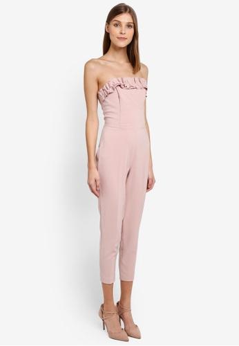 Miss Selfridge pink Cny Ruffle Bandeau Jumpsuit MI665AA0STCMMY_1
