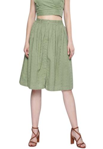 SASSAFRAS green Olive Schiffli Buttoned Skirt 990C1AAE8B3772GS_1