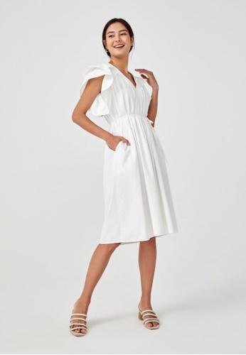 Love, Bonito white Rhea Pleated Ruffle Trapeze Dress 1D6EAAA20DCA34GS_1