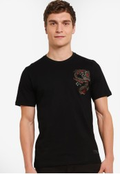 Flesh IMP black Dragon Patched T-Shirt FL064AA0S5TWMY_1