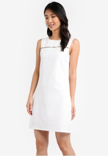 ZALORA white Front Trim Pencil Dress 08549AA5B4775CGS_1
