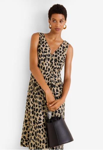 Mango brown Animal Print Dress F64BEAA8D4A746GS_1