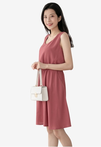 Eyescream red Cross Back Sleeveless Dress With Pockets 917B6AA6F3A22FGS_1