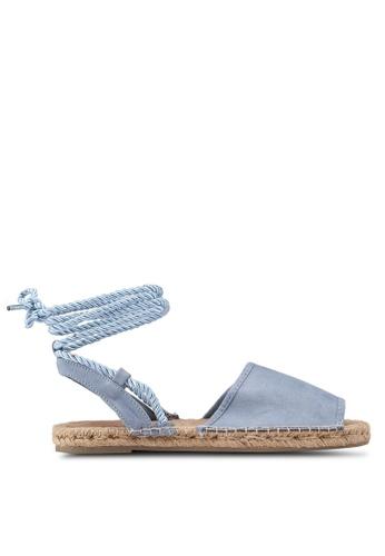 TOPSHOP 藍色 草編繞帶涼鞋 FD2A6SH957C8B9GS_1