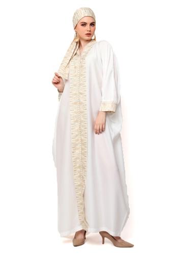 Kanzi by liza yahya white Kanzi Exclusive Long Sleeve Songket Kaftan 6887FAA5BDE232GS_1