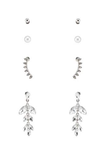 Red's Revenge silver 4-In-1 Frosted Leaves Dangle & Studs Earrings Set 9597FAC7624592GS_1