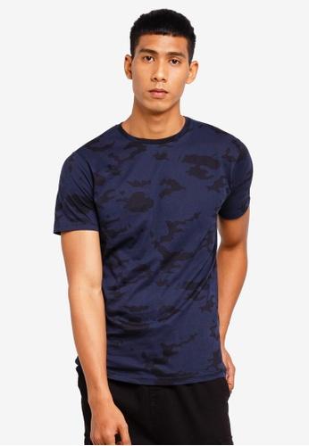 Brave Soul 藍色 迷彩Print 圓領T恤 D3A22AA7F2F141GS_1