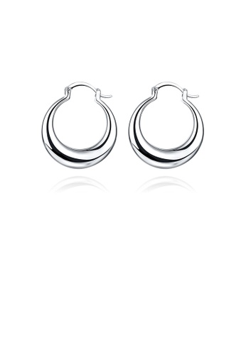 Glamorousky silver Simple and Elegant Round Earrings E72C9ACCE23C3AGS_1