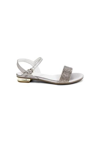 prettyFIT silver PEWTER Flat Sandals 12455SH4A75431GS_1