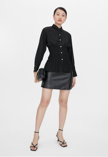 Pomelo black Smocked Button Down Shirt - Black A34AEAA1DE203CGS_1