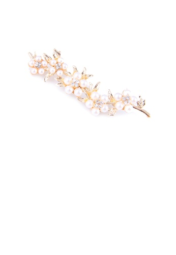 Glamorousky white Fashion and Elegant Plated Gold Flower Imitation Pearl Brooch with Cubic Zirconia CC0A6AC1EFB068GS_1