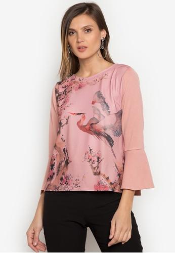Ensembles pink Printed Bell Sleeve Top EN320AA0JYEJPH_1