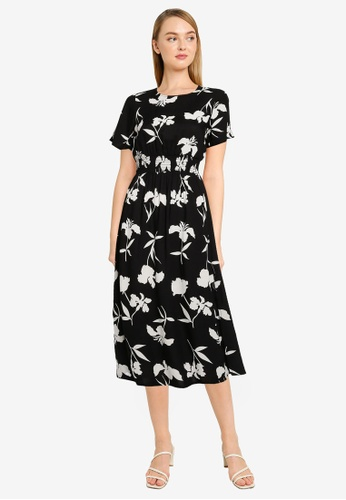 Dorothy Perkins black Petite Monochrome Floral Shirred Midi Dress 41AD0AA7323FE7GS_1