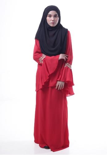 Denai Boutique red Baju Kurung Esra 4591CAA874CE93GS_1