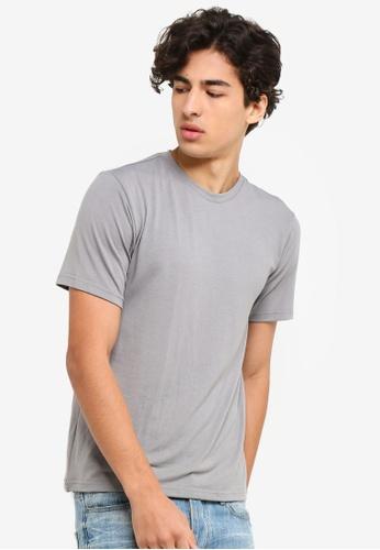 UniqTee 灰色 修身Crew T恤 EA7EEAA9D5CE92GS_1