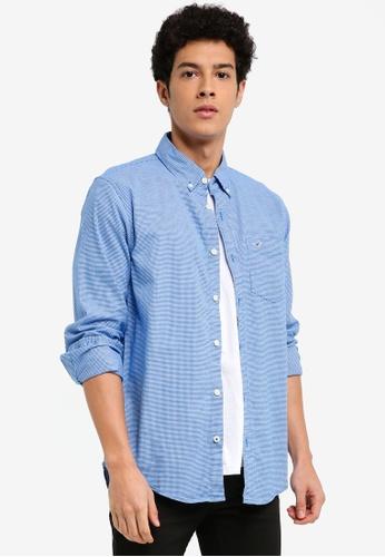 Hollister blue Long Sleeve Core Oxford Shirt D1DC2AA1FFCD8AGS_1