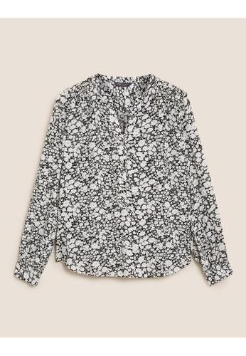 MARKS & SPENCER black M&S Ditsy Floral V-Neck Long Sleeve Blouse B3DEEAAE77904DGS_1