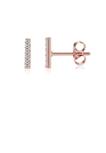 Glamorousky white Simple Fashion Plated Rose Gold Letter I Cubic Zircon Stud Earrings D1778AC2A8C26CGS_1