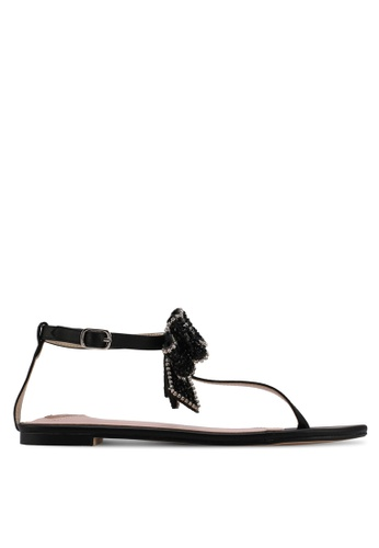 Velvet black Bow Detail Sandals 151AASH78DDD3CGS_1