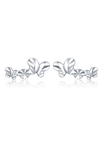 MaBelle silver 14K White Gold Faceted Double Butterfly Stud Earrings MA584AC2W735HK_1